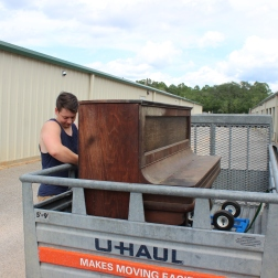 Matthew brought the Steinway to the storage unit