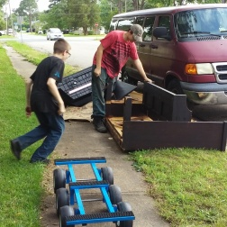 We did a lot of this disassembly on site because the piano was very heavy and the wheels were broken.
