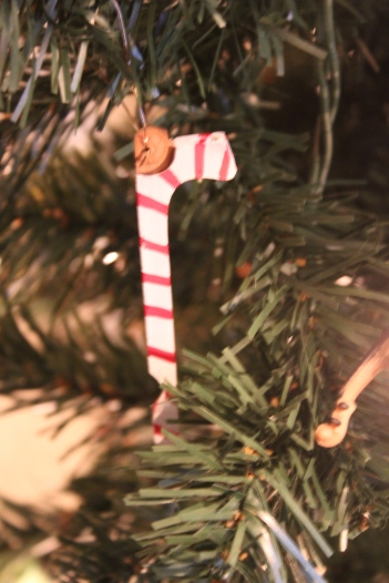 "Ornament: ""Candy Cane"" made from a jack"