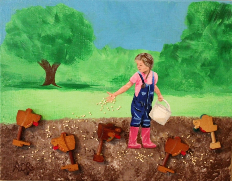 acrylic painting of girl feeding chickens