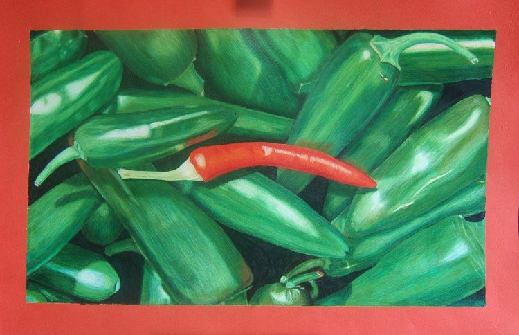 color pencil drawing of a bunch of peppers