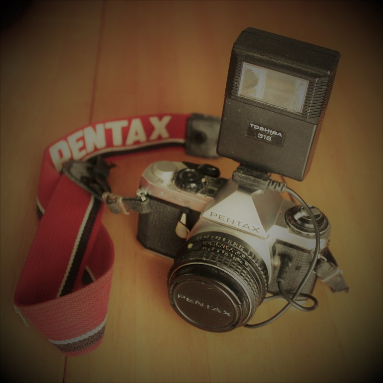 Pentax film camera with flash
